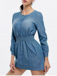 Long Sleeve Mini Denim A Line Jean Dress -