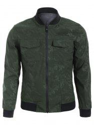 Camo Letter Embroidered Bomber Jacket - ARMY GREEN 3XL