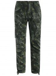 Flap Pockets Camo Print Pants