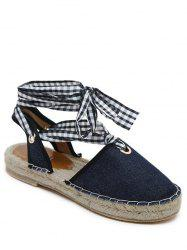 Stitching Slingback Tie Up Sandals - DEEP BLUE 39