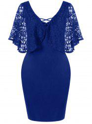 Lace Batwing Sleeve Plus Size Bodycon Dress -