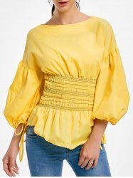 Lantern Sleeve Zip Waisted Blouse -
