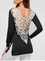 Lace Crochet Side Slit Tunic T-shirt -