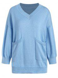 V Neck Pocket Size Size Sweater -