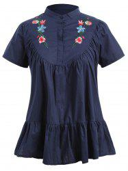 Plus Size Short Sleeve Floral Embroidered Top -