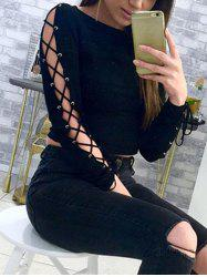Long Sleeve Lace-up Crop Top -