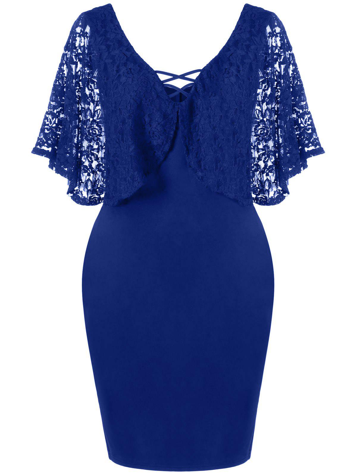 Lace Batwing Sleeve Plus Size Bodycon DressWOMEN<br><br>Size: 4XL; Color: DEEP BLUE; Style: Brief; Material: Polyester,Spandex; Silhouette: Sheath; Dresses Length: Knee-Length; Neckline: V-Neck; Sleeve Type: Batwing Sleeve; Sleeve Length: Short Sleeves; Waist: Natural; Embellishment: Criss-Cross,Lace; Pattern Type: Solid Color; Elasticity: Elastic; With Belt: No; Season: Summer; Weight: 0.3700kg; Package Contents: 1 x Dress;