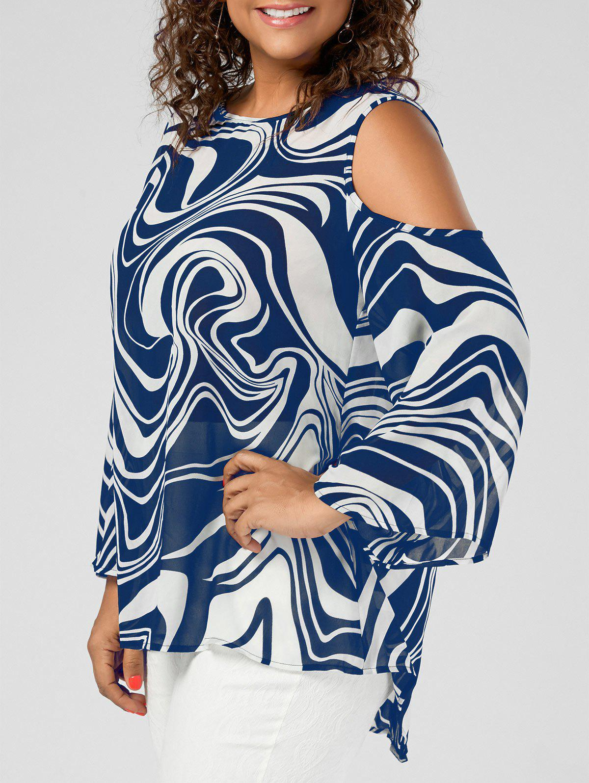 Plus Size Graphic Cold Shoulder High Low TopWOMEN<br><br>Size: XL; Color: COLOR BLUE; Material: Polyester; Shirt Length: Long; Sleeve Length: Full; Collar: Round Neck; Style: Fashion; Season: Fall,Spring,Summer; Pattern Type: Print; Weight: 0.3500kg; Package Contents: 1 x Blouse;