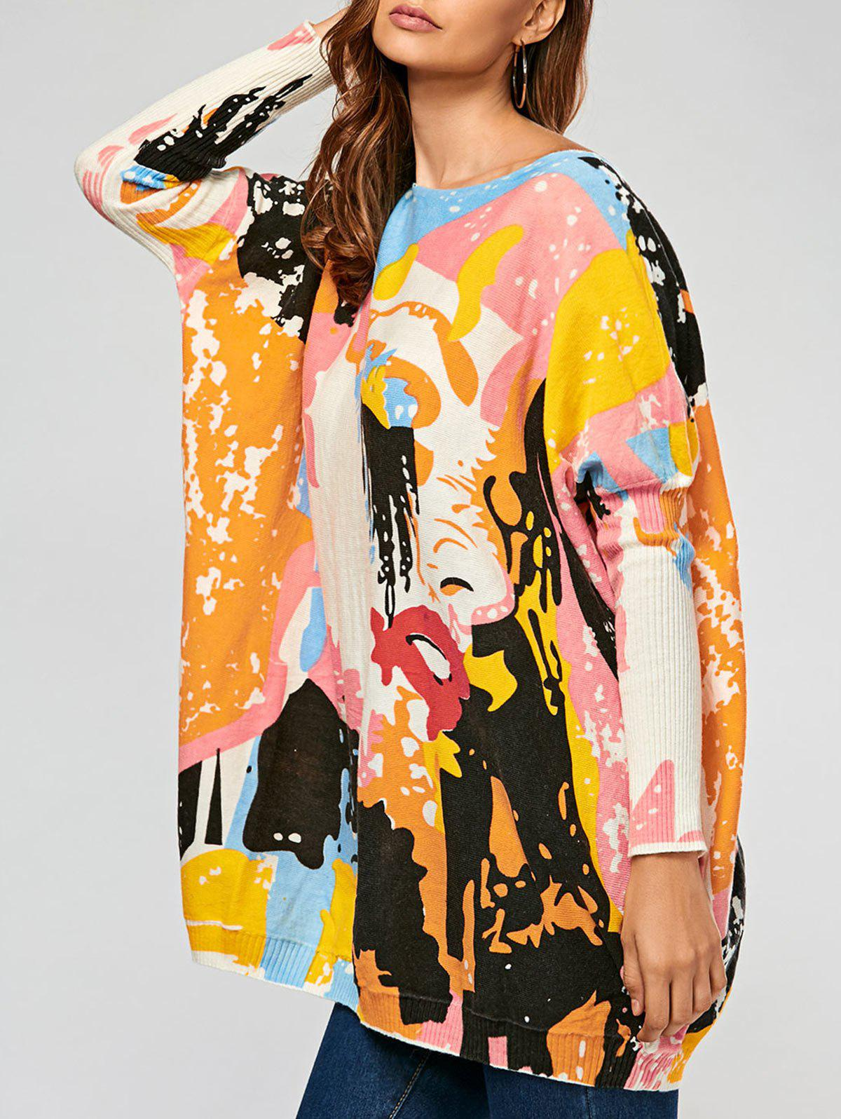 Shop Pullover Colorful Cartoon Ribbed Drop Shoulder Sweater