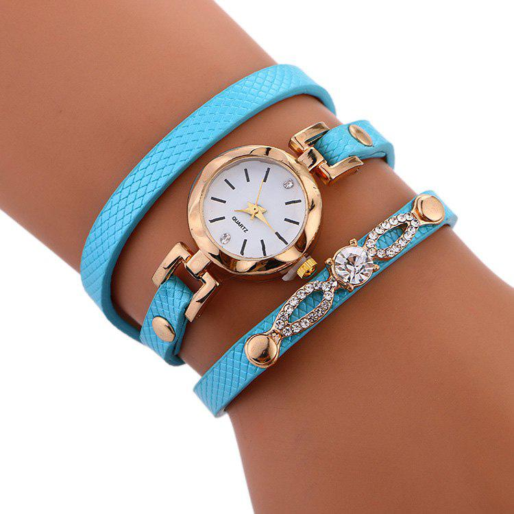 Affordable Rhinestone Faux Leather Strap Wrap Bracelet Watch
