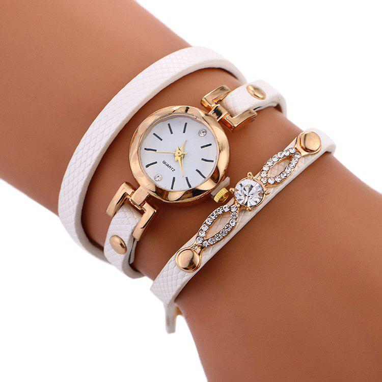 Rhinestone Faux Leather Strap Wrap Bracelet WatchJEWELRY<br><br>Color: WHITE; Gender: For Women; Style: Fashion; Type: Bracelet Watch; Index Dial: Analog; Case material: Alloy; Band material: PU Leather; Movement: Quartz; Dial Shape: Round; Water-Proof: No; Case Thickness(MM): 6mm; Dial Diameter: 2.2cm; Band Length(CM): 56cm; Band Width(CM): 56cm; Package Contents: 1 x Watch;