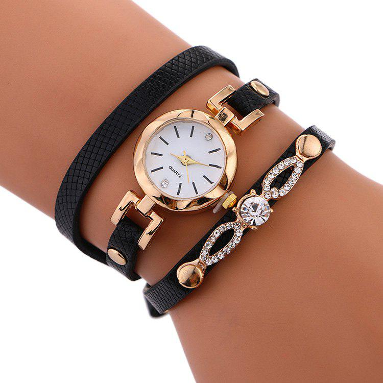 Rhinestone Faux Leather Strap Wrap Bracelet WatchJEWELRY<br><br>Color: BLACK; Gender: For Women; Style: Fashion; Type: Bracelet Watch; Index Dial: Analog; Case material: Alloy; Band material: PU Leather; Movement: Quartz; Dial Shape: Round; Water-Proof: No; Case Thickness(MM): 6mm; Dial Diameter: 2.2cm; Band Length(CM): 56cm; Band Width(CM): 56cm; Package Contents: 1 x Watch;