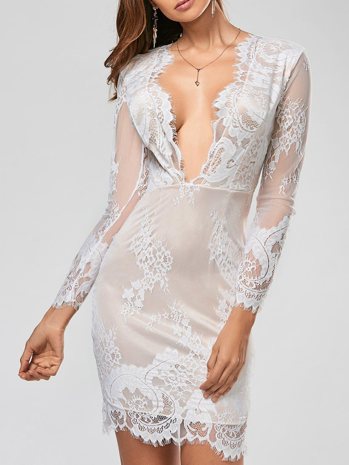 Sexy Plunging Neck Long Sleeve See-Through Flower Pattern Hot DressWOMEN<br><br>Size: L; Color: WHITE; Style: Sexy &amp; Club; Material: Polyester,Lace; Silhouette: Sheath; Dresses Length: Knee-Length; Neckline: Plunging Neck; Sleeve Length: Long Sleeves; Pattern Type: Floral; With Belt: No; Season: Spring,Fall; Weight: 0.210KG; Package Contents: 1 x Dress;