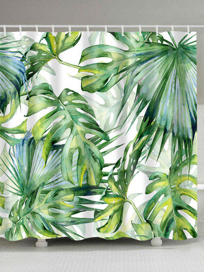 Watercolor Fern Plants Bath Shower Curtain with HooksHOME<br><br>Size: W71 INCH * L71 INCH; Color: YELLOW GREEN; Products Type: Shower Curtains; Materials: Polyester; Pattern: Plant; Style: Country; Number of Hook Holes: W59 inch*L71 inch: 10; W71 inch*L71 inch: 12; W71 inch*L79 inch: 12; Package Contents: 1 x Shower Curtain 1 x Hooks (Set);