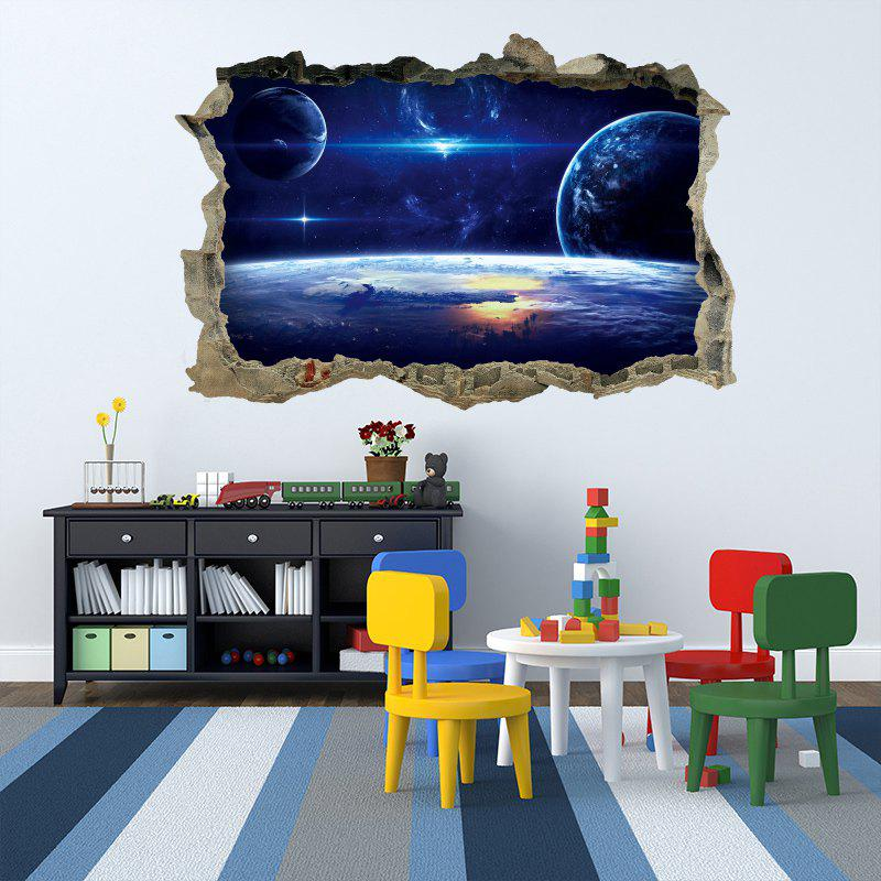 Galaxy Planets 3D Broken Wall Art Sticker For BedroomHOME<br><br>Size: 45*60CM; Color: BLUE; Wall Sticker Type: 3D Wall Stickers; Functions: Decorative Wall Stickers; Theme: Galaxy; Material: PVC; Feature: Removable; Weight: 0.1440kg; Package Contents: 1 x Wall Sticker;
