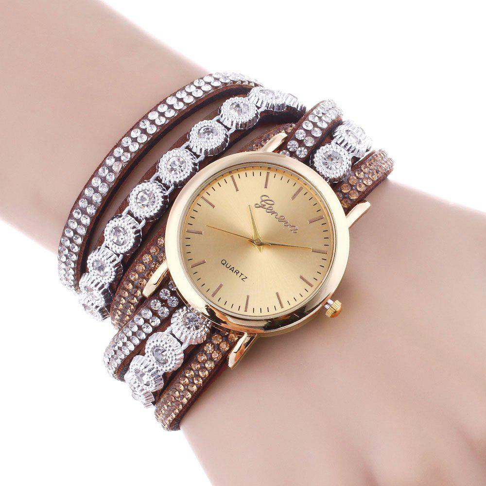 Unique Layered Rhinestoned Wrap Bracelet Watch