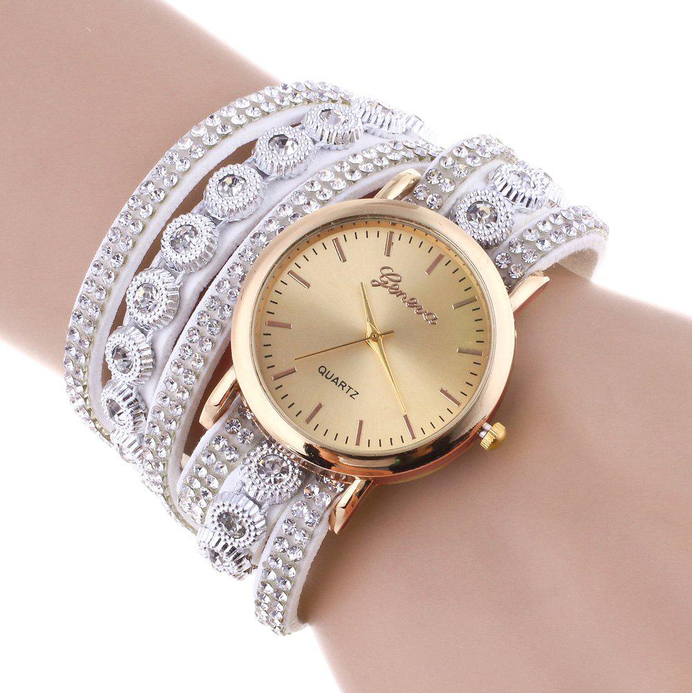 Cheap Layered Rhinestoned Wrap Bracelet Watch