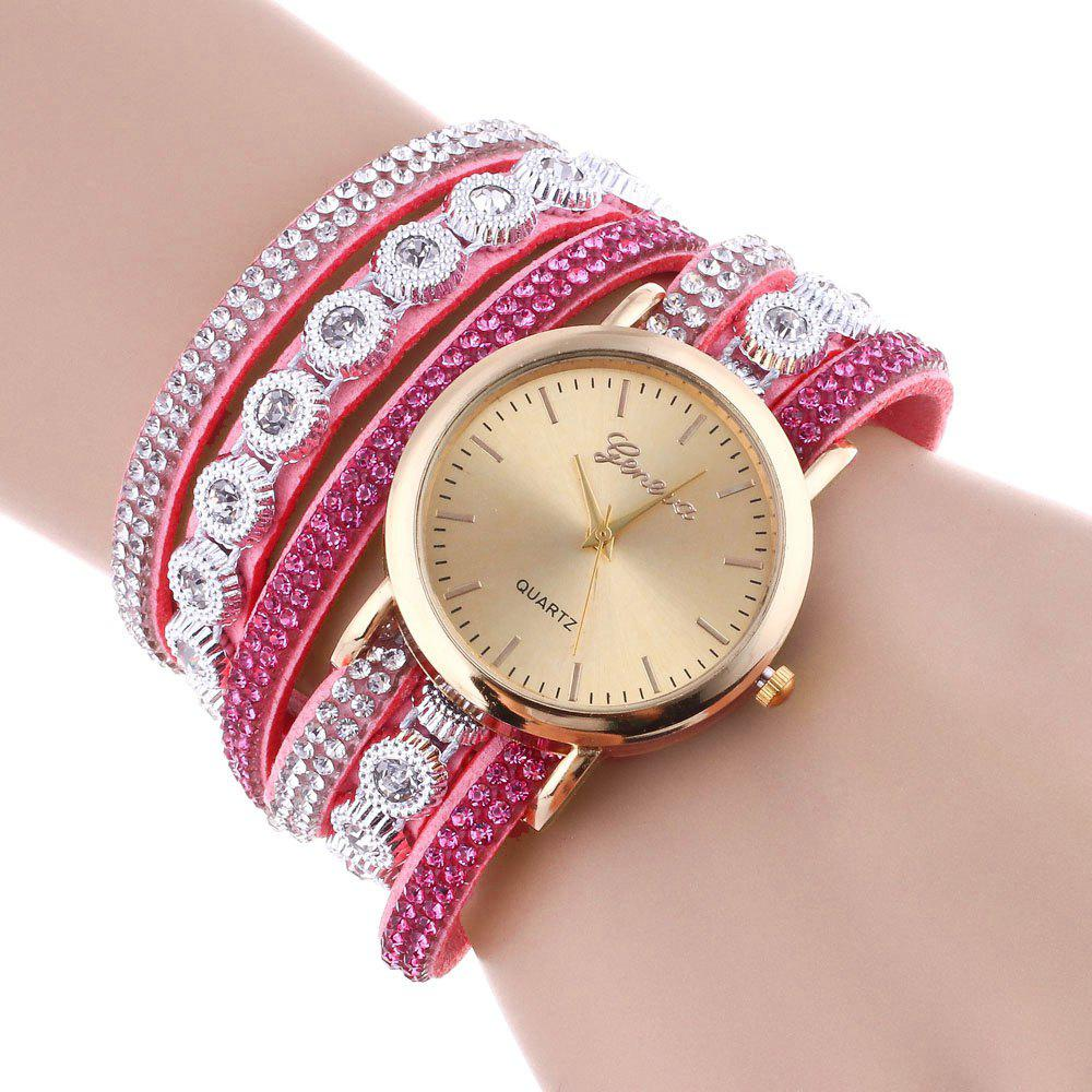 Layered Rhinestoned Wrap Bracelet WatchJEWELRY<br><br>Color: PINK; Gender: For Women; Style: Fashion; Type: Bracelet Watch; Index Dial: Analog; Case material: Alloy; Band material: PU Leather; Movement: Quartz; Dial Shape: Round; Water-Proof: No; Case Thickness(MM): 6mm; Dial Diameter: 3.4cm; Band Length(CM): 39.8cm; Package Contents: 1 x Watch;