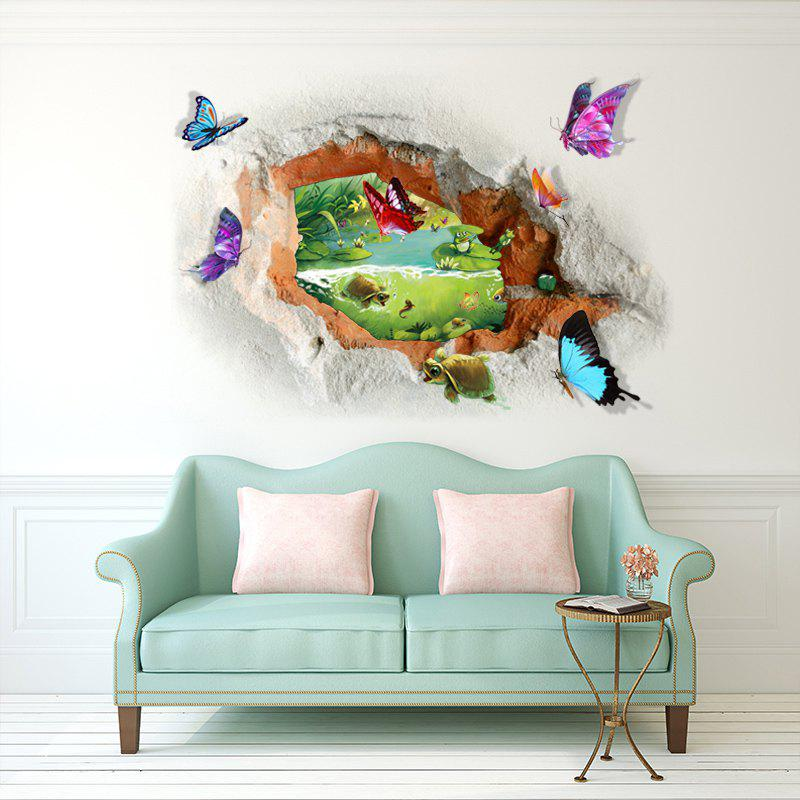 Butterfly Tortoise Removable 3D Broken Wall Art StickerHOME<br><br>Size: 50*70CM; Color: COLORMIX; Wall Sticker Type: 3D Wall Stickers; Functions: Decorative Wall Stickers; Theme: Landscape; Material: PVC; Feature: Removable; Weight: 0.2025kg; Package Contents: 1 x Wall Sticker;