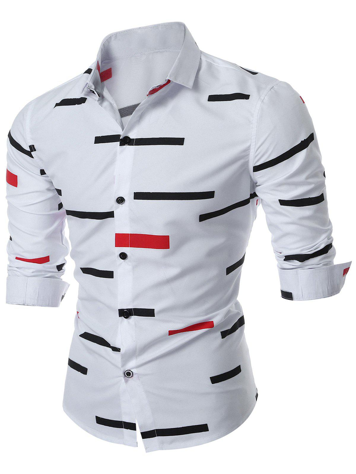 Slim Fit Geo-print Long Sleeve ShirtMEN<br><br>Size: 2XL; Color: WHITE; Shirts Type: Casual Shirts; Material: Cotton,Polyester; Sleeve Length: Full; Collar: Turn-down Collar; Pattern Type: Geometric,Print; Weight: 0.2500kg; Package Contents: 1 x Shirt;