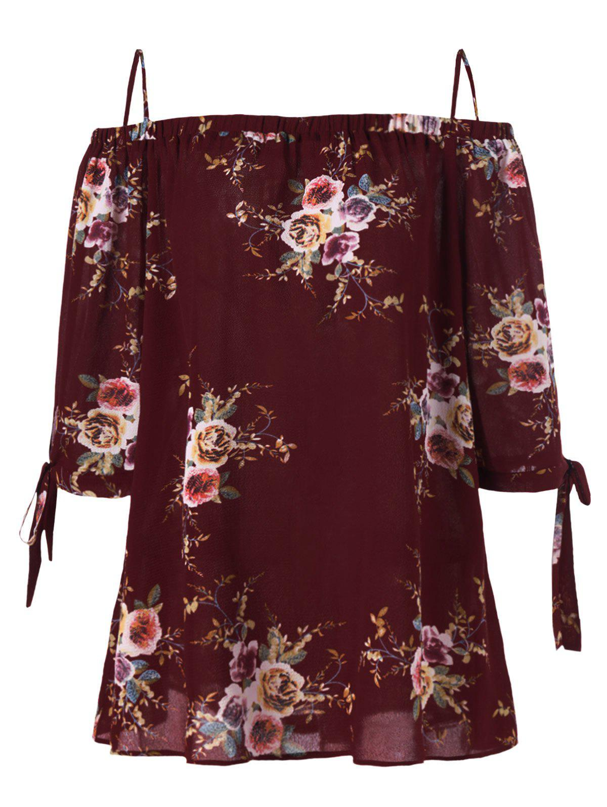 Plus Size Cold Shoulder Bohemian BlouseWOMEN<br><br>Size: XL; Color: WINE RED; Material: Polyester; Shirt Length: Regular; Sleeve Length: Three Quarter; Collar: Spaghetti Strap; Style: Fashion; Season: Fall,Spring,Summer; Pattern Type: Floral; Placement Print: No; Weight: 0.2100kg; Package Contents: 1 x Blouse;