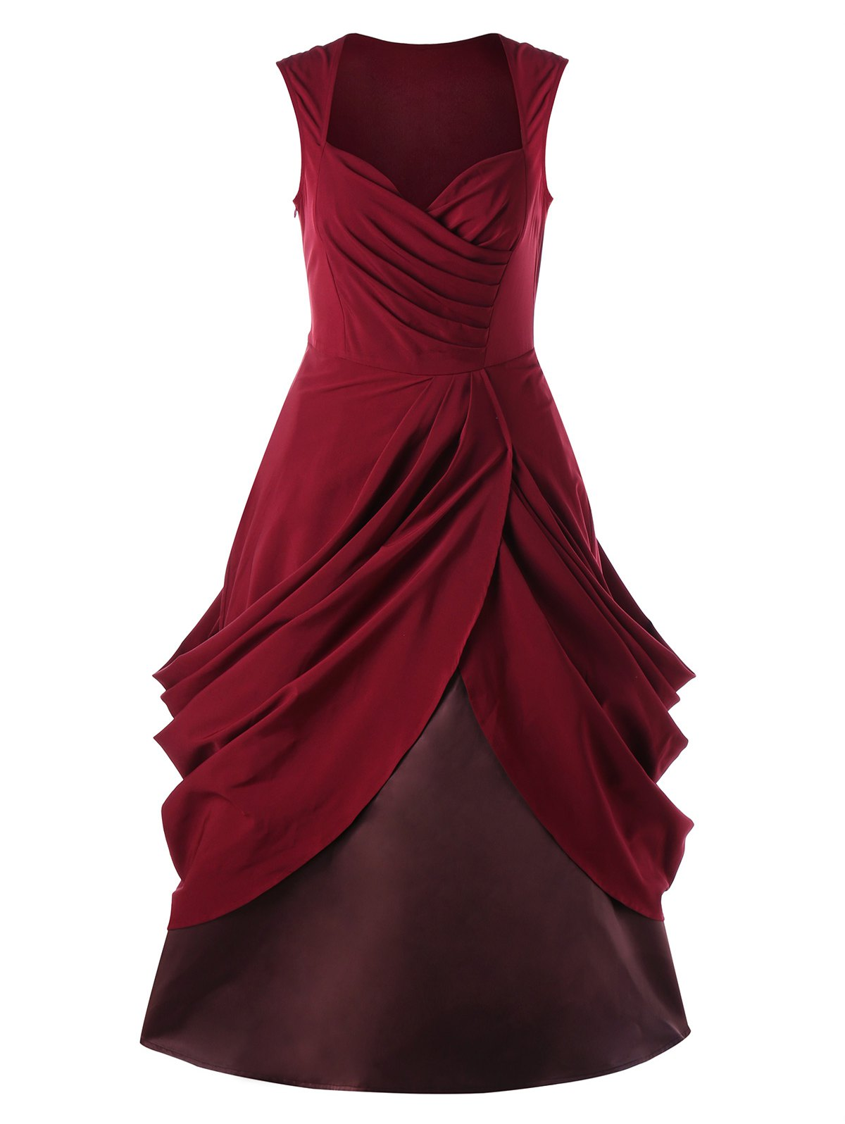Ruched Vintage Sweetheart Party A Line DressWOMEN<br><br>Size: 2XL; Color: RED; Style: Vintage; Material: Polyester; Silhouette: A-Line; Dresses Length: Knee-Length; Neckline: Sweetheart Neck; Sleeve Length: Sleeveless; Pattern Type: Solid; With Belt: No; Season: Spring,Summer; Weight: 0.6850kg; Package Contents: 1 x Dress;