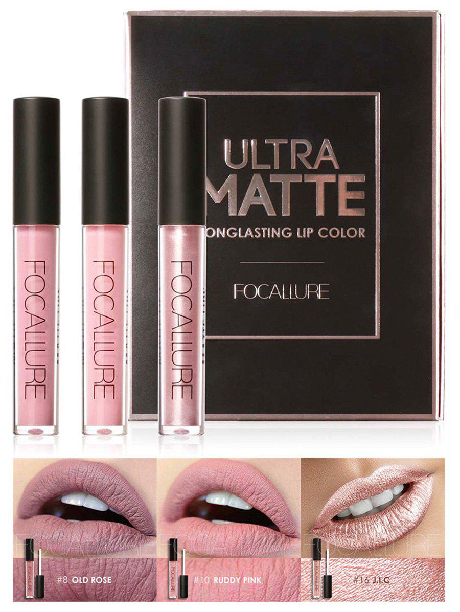 New 3Pcs Metallic Color Waterproof Moisturize Lip Glaze Set