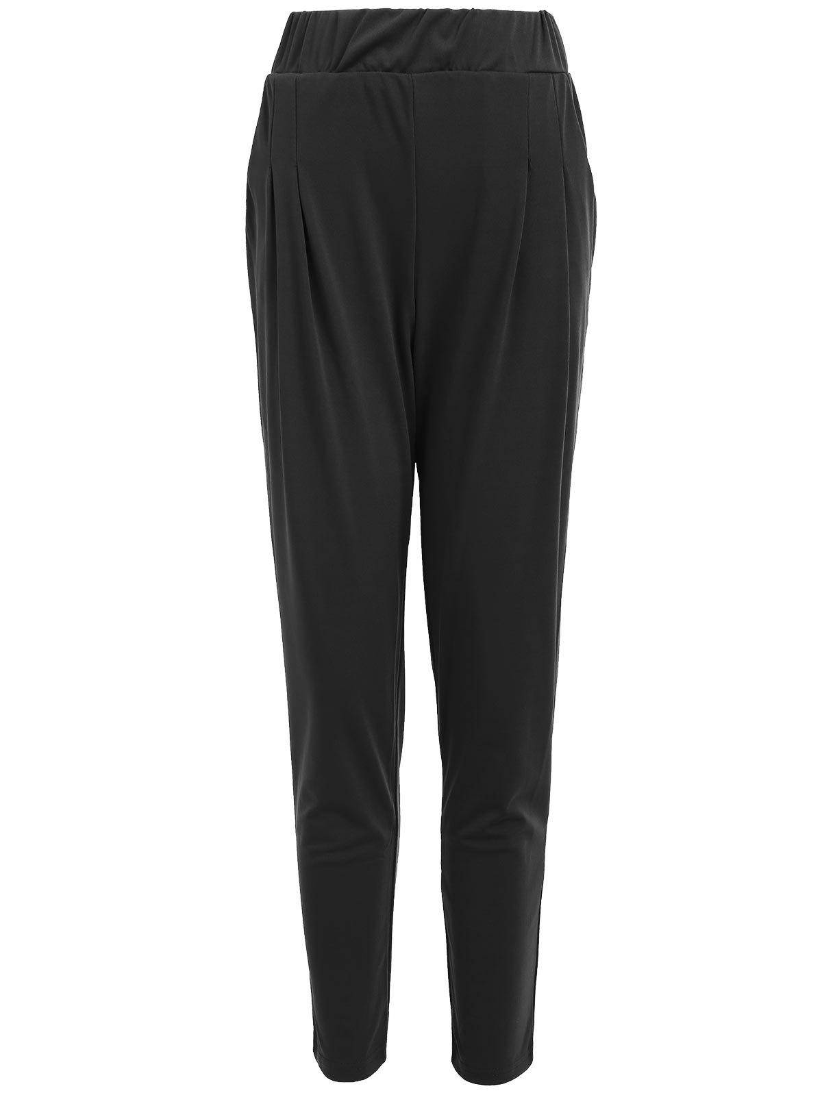 Elastic Waist Ankle Plus Size Pencil PantsWOMEN<br><br>Size: 6XL; Color: BLACK; Style: Casual; Length: Normal; Material: Polyester; Fit Type: Regular; Waist Type: Mid; Closure Type: Elastic Waist; Front Style: Flat; Pattern Type: Solid; Pant Style: Pencil Pants; Elasticity: Micro-elastic; With Belt: No; Weight: 0.3300kg; Package Contents: 1 x Pants;