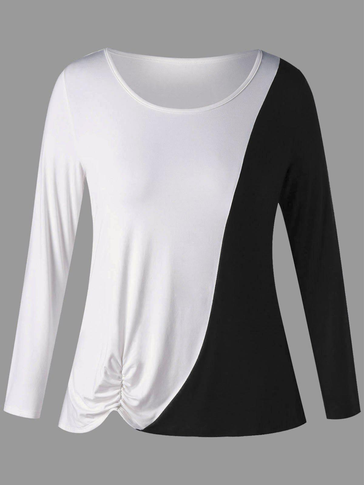Latest Plus Size Two Tone Shirred Long Sleeve T-shirt