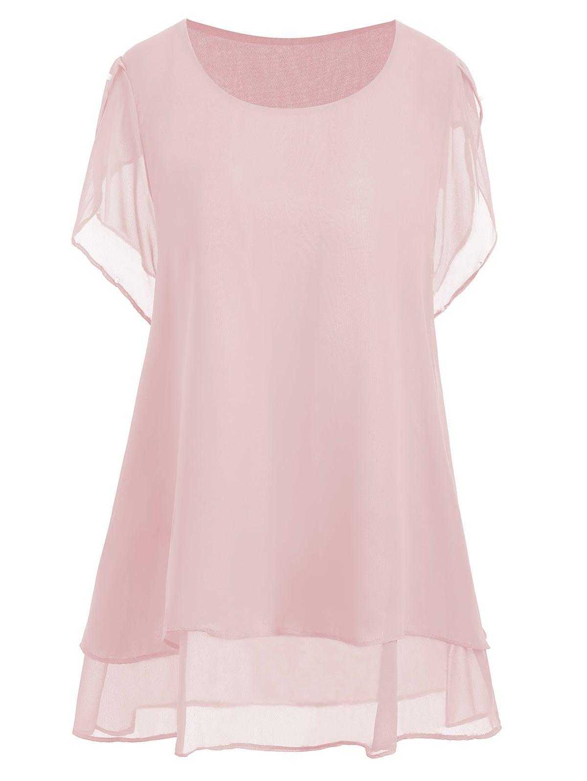 Plus Size Beaded Chiffon Tunic TopWOMEN<br><br>Size: 3XL; Color: PINK; Material: Polyester; Shirt Length: Long; Sleeve Length: Short; Collar: Round Neck; Style: Casual; Season: Summer; Pattern Type: Solid; Weight: 0.2000kg; Package Contents: 1 x Top;