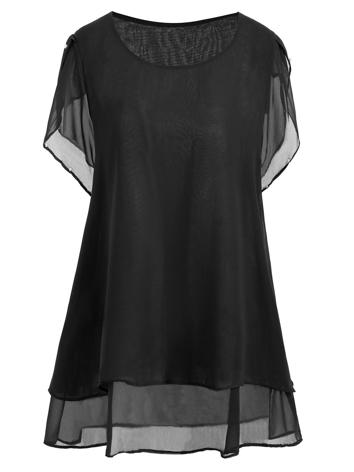 Plus Size Beaded Chiffon Tunic TopWOMEN<br><br>Size: 5XL; Color: BLACK; Material: Polyester; Shirt Length: Long; Sleeve Length: Short; Collar: Round Neck; Style: Casual; Season: Summer; Pattern Type: Solid; Weight: 0.2000kg; Package Contents: 1 x Top;