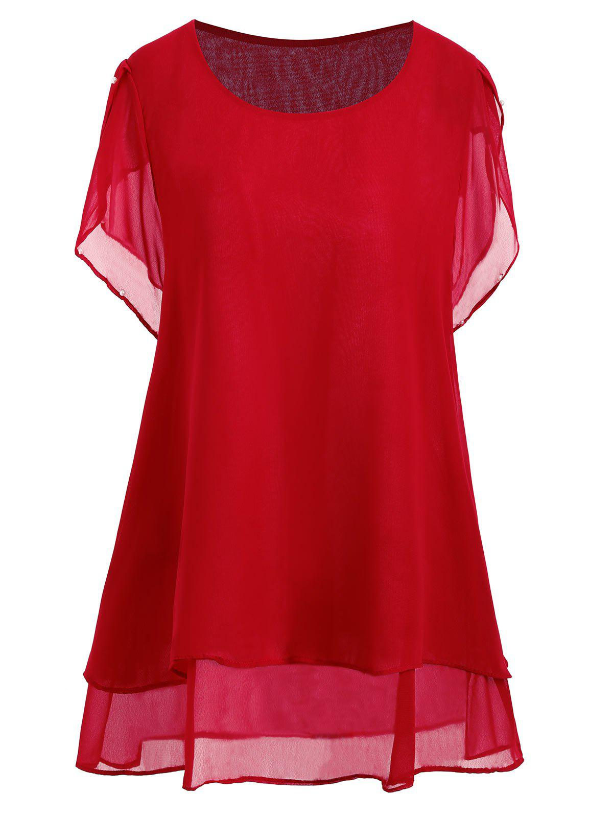Plus Size Beaded Chiffon Tunic TopWOMEN<br><br>Size: 4XL; Color: RED; Material: Polyester; Shirt Length: Long; Sleeve Length: Short; Collar: Round Neck; Style: Casual; Season: Summer; Pattern Type: Solid; Weight: 0.2000kg; Package Contents: 1 x Top;