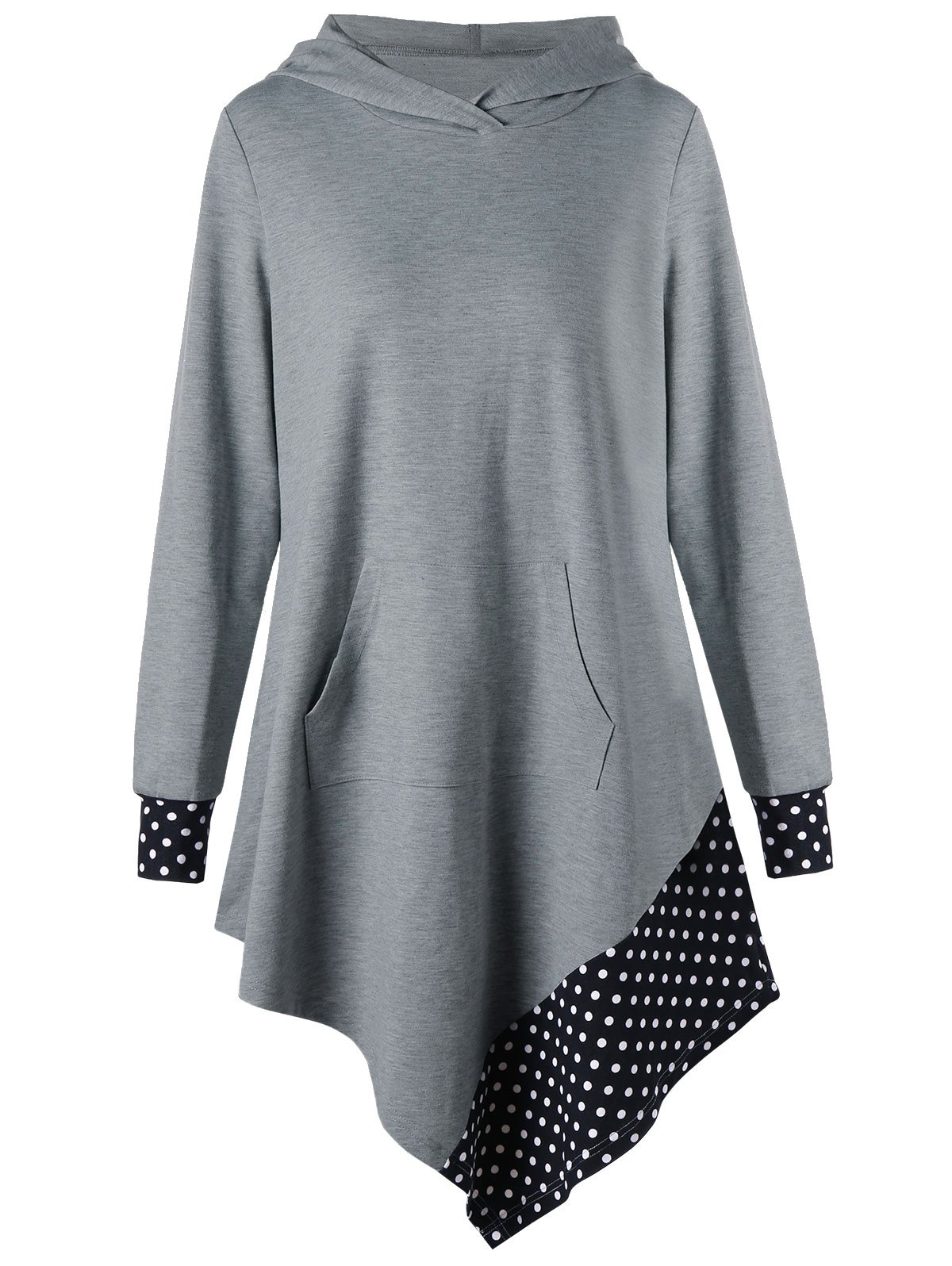 Shop Polka Dot Asymmetrical Tunic Hoodie
