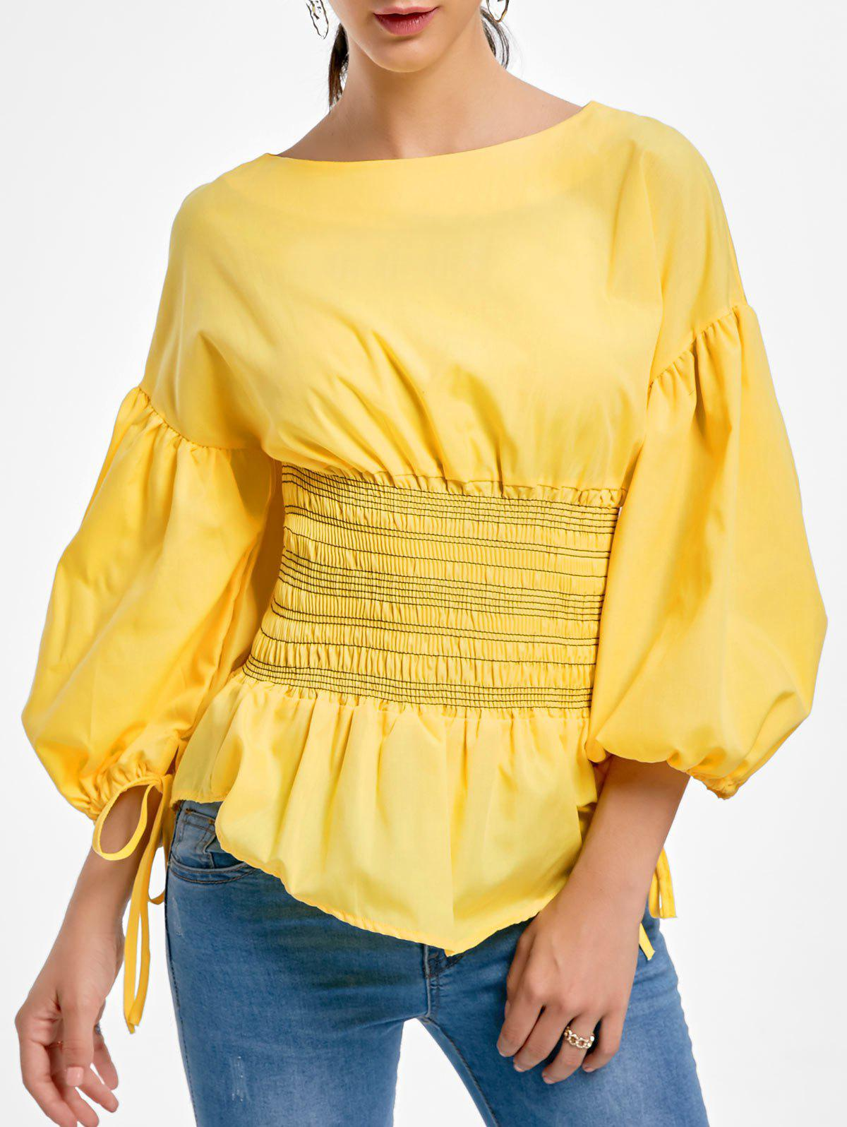 Sale Lantern Sleeve Zip Waisted Blouse