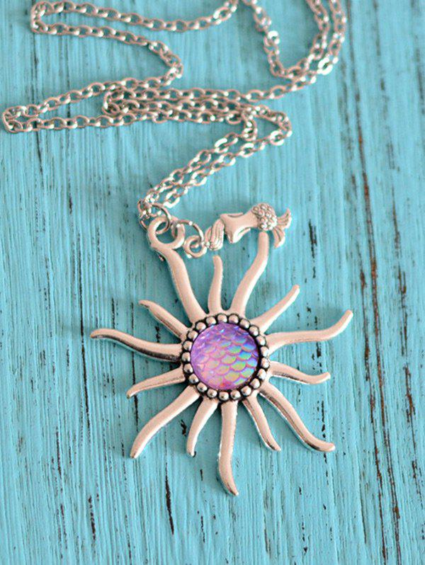 Mermaid Scales Sun Pendant NecklaceJEWELRY<br><br>Color: LIGHT PURPLE; Item Type: Pendant Necklace; Gender: For Women; Necklace Type: Link Chain; Style: Trendy; Shape/Pattern: Round; Length: 55CM; Weight: 0.0300kg; Package Contents: 1 x Necklace;