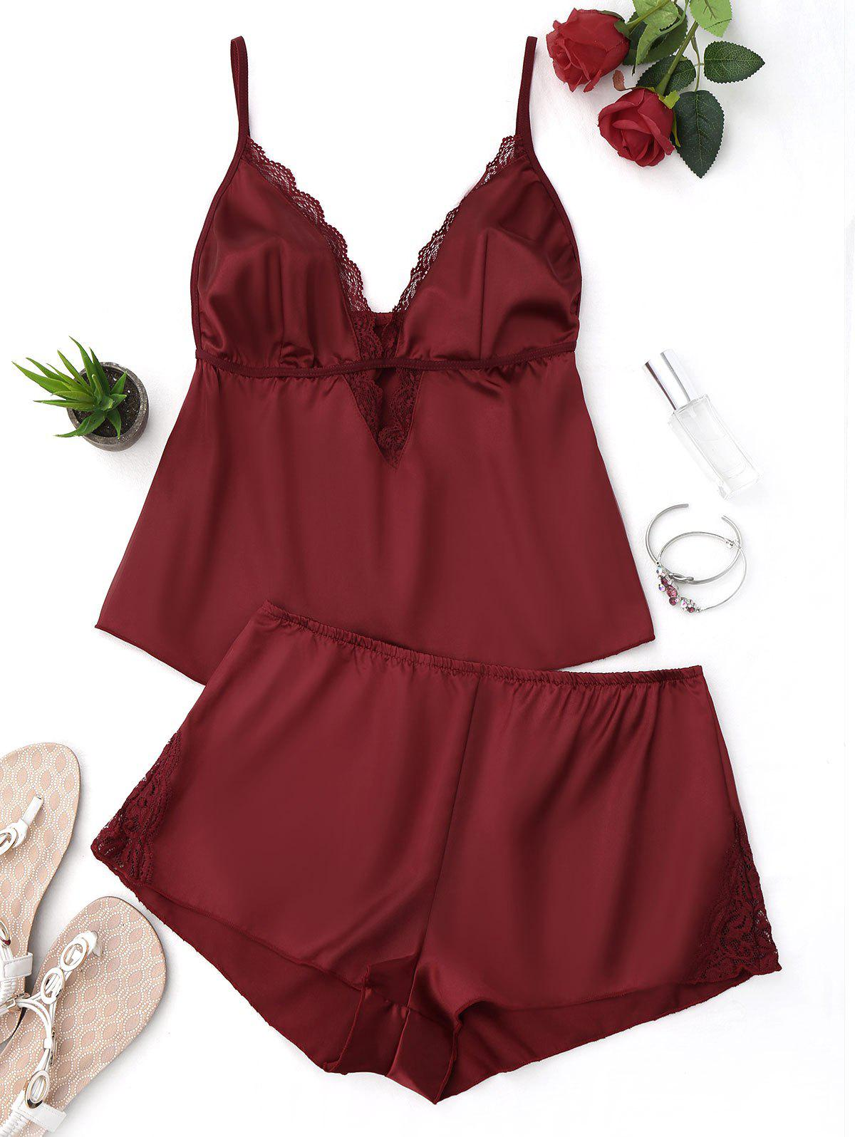 Plunge Cami Lace Trim PJ SetWOMEN<br><br>Size: M; Color: WINE RED; Material: Polyester; Pattern Type: Solid; Weight: 0.1500kg; Package Contents: 1 x Cami Top  1 x Shorts;