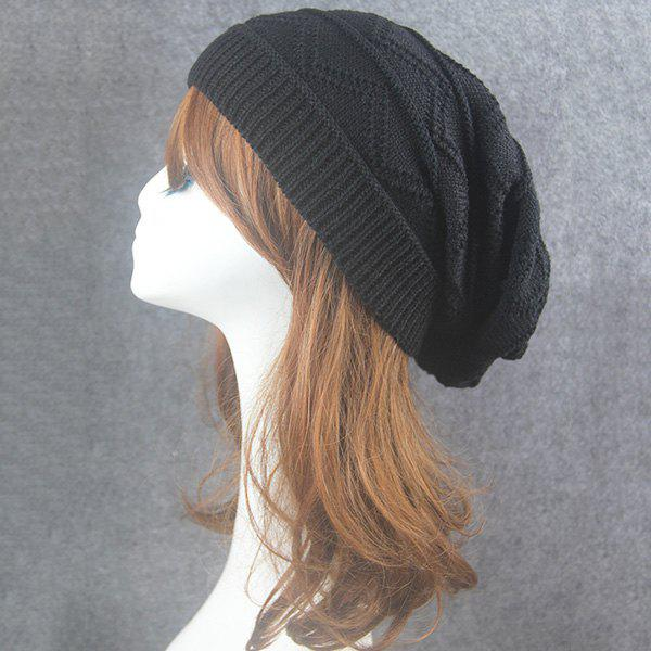 Knitting Wave Striped BeanieACCESSORIES<br><br>Color: BLACK; Hat Type: Skullies Beanie; Group: Adult; Gender: Unisex; Style: Fashion; Pattern Type: Striped; Material: Acrylic; Weight: 0.0740kg; Package Contents: 1 x Hat;
