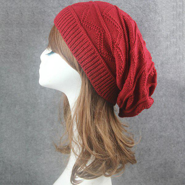 Knitting Wave Striped BeanieACCESSORIES<br><br>Color: CLARET; Hat Type: Skullies Beanie; Group: Adult; Gender: Unisex; Style: Fashion; Pattern Type: Striped; Material: Acrylic; Weight: 0.0740kg; Package Contents: 1 x Hat;