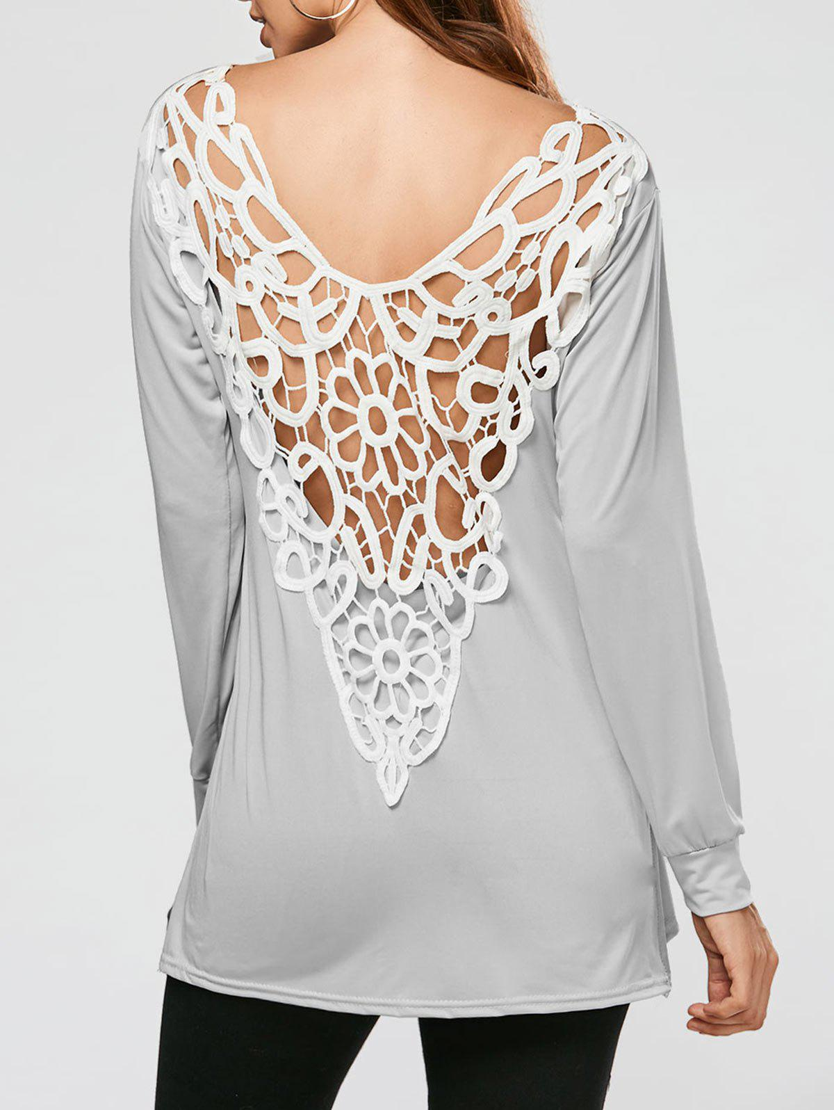 Trendy Lace Crochet Side Slit Tunic T-shirt