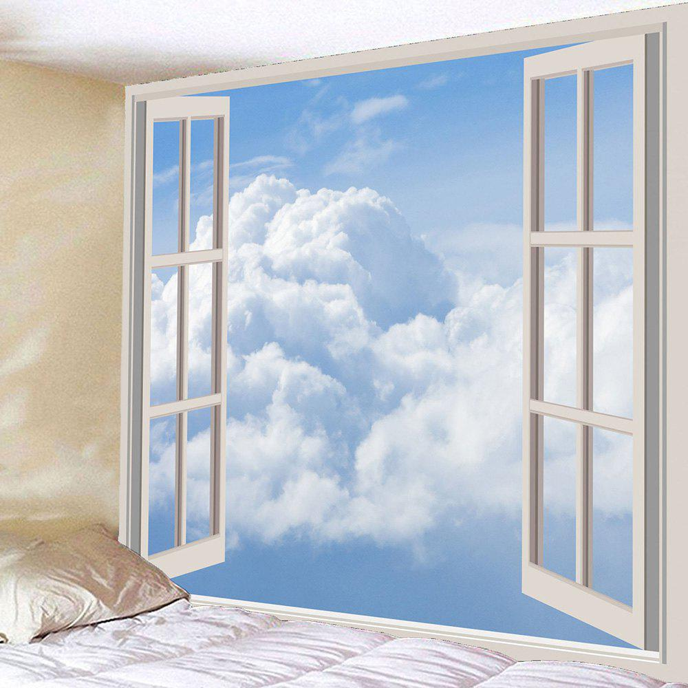Waterproof Faux Window Cloud Wall Hanging TapestryHOME<br><br>Size: W79 INCH * L79 INCH; Color: WHITE; Style: Fashion; Material: Polyester; Feature: Removable,Washable; Shape/Pattern: Window; Weight: 0.4200kg; Package Contents: 1 x Tapestry;