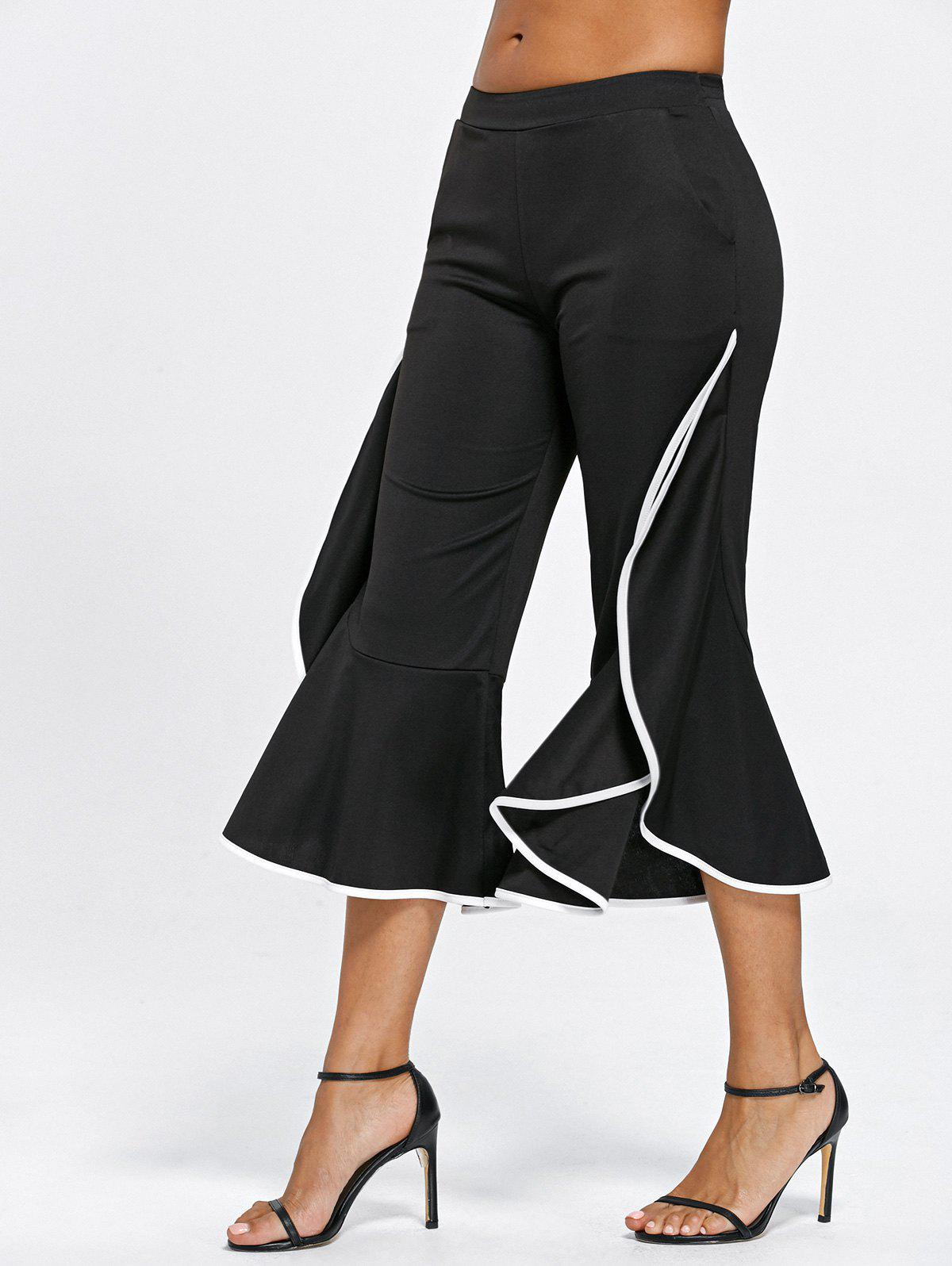 Ruffle Trim Flare PantsWOMEN<br><br>Size: L; Color: BLACK; Style: Fashion; Length: Ninth; Material: Polyester,Spandex; Fit Type: Loose; Waist Type: Mid; Closure Type: Elastic Waist; Pattern Type: Solid; Pant Style: Wide Leg Pants; Weight: 0.3400kg; Package Contents: 1 x Pants;