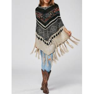 Asymmetric Beaded Fringe Bohenmian Cape Sweater