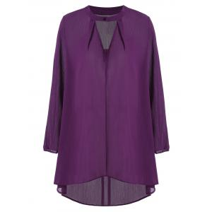 Keyhole Neck Plus Size High Low Long Sleeve Blouse