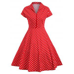 Polka Dot Button Vintage Pin Up Dress - Red - M