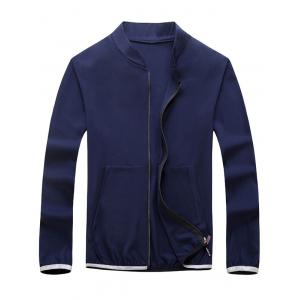 Elastic Cuff Zip Up Lightweight Jacket