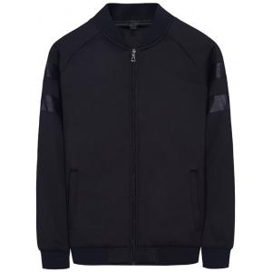 PU Panel Raglan Sleeve Bomber Jacket