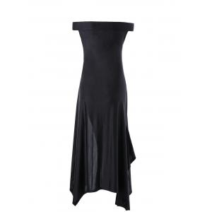 Off The Shoulder High Slit Handkerchief Dress - Black - 2xl