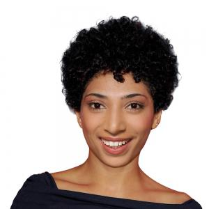 Ultra Short Inclined Bang Afro Curly Pixie Human Hair Wig - Black - 18cm