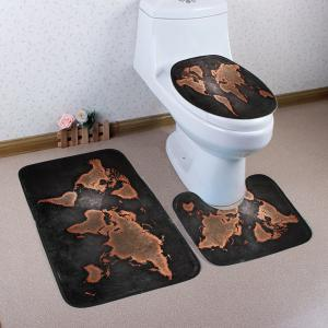 World Map Pattern 3 Pcs Bath Mat Toilet Mat - Dun - W53 Inch * L96.5 Inch