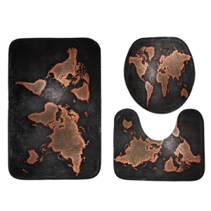 Tapis de toilette pour tapis de bain modèle 3 Map World Pattern -